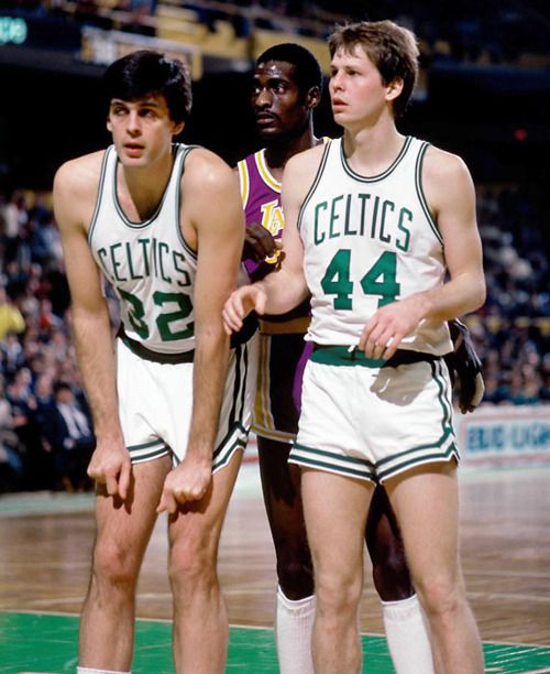 Celtics vs. Lakers - Classic basketball. Kevin McHale and Danny Ainge.