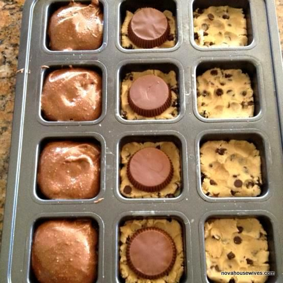 Here is her secret recipe:  1. Into the wells of a muffin tin (or in cupcake papers) flatten a square of store-bought chocolate chip cookie dough.  2. Top that with a Reese peanut butter cup (or a mini).  3. Prepare box-mix brownie batter (as directed on the box) and spoon it over Reese-cookie dough, 3/4 full.  4. Bake at 350 for 20 minutes. VOILA!