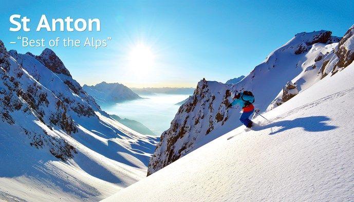 St Anton Best of the Alps skidåkning offpist Alperna soluppgång Snow winter skiing STS Alpresor