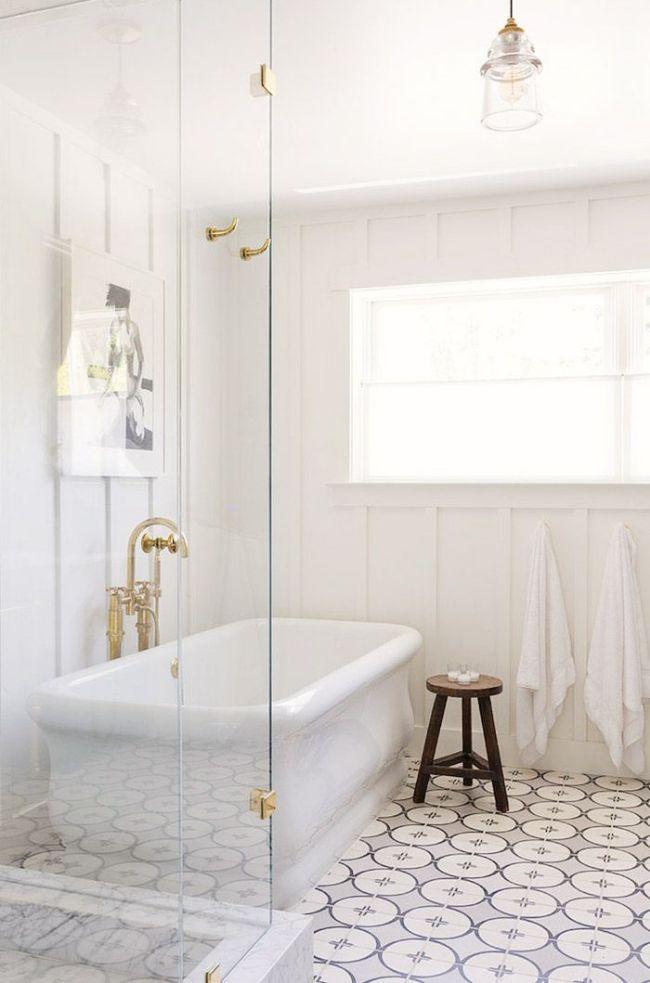 Offene Dusche Ideen : Patterned Floor Tiles with Bathroom