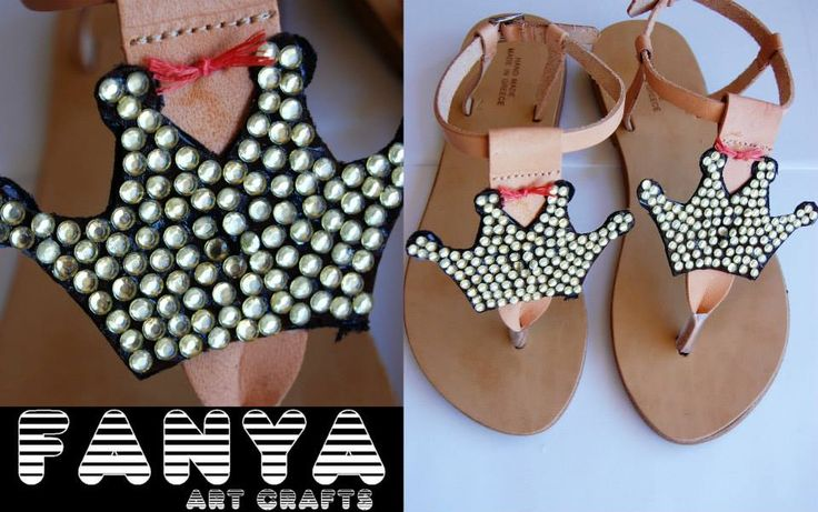 handmade sandals with crowns covered with rhinestones