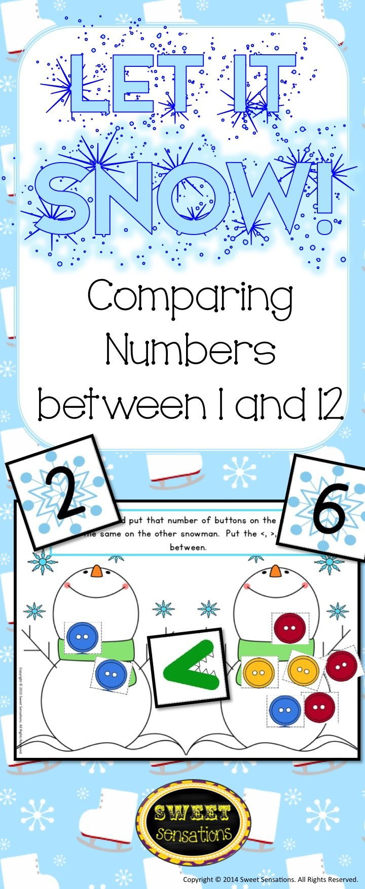 Fun kindergarten math station activity with a snowman theme that can be used year after year from November through March! Students pick a snowflake card and take a corresponding amount of buttons. They place the buttons on the first snowman, and repeat taking another card and placing the correct amount of buttons on the second snowman. The student then needs to decide which symbol goes in between the snowmen, and records with the correct symbol included in the pack.