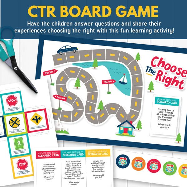 "ATTENTION PRIMARY TEACHERS! Weekly 2017 LDS Primary Teaching Ideas. This CTR Board Game is perfect for ""Choose the Right B: Lesson 1"""