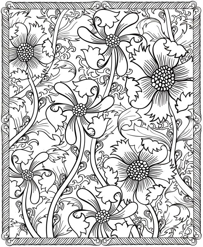 floral design coloring page free printable coloring kids diy crafts - Detailed Coloring Pages 2