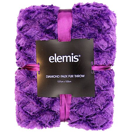 Elemis Throw Diamond Faux Fur Purple 127cm x 152cm
