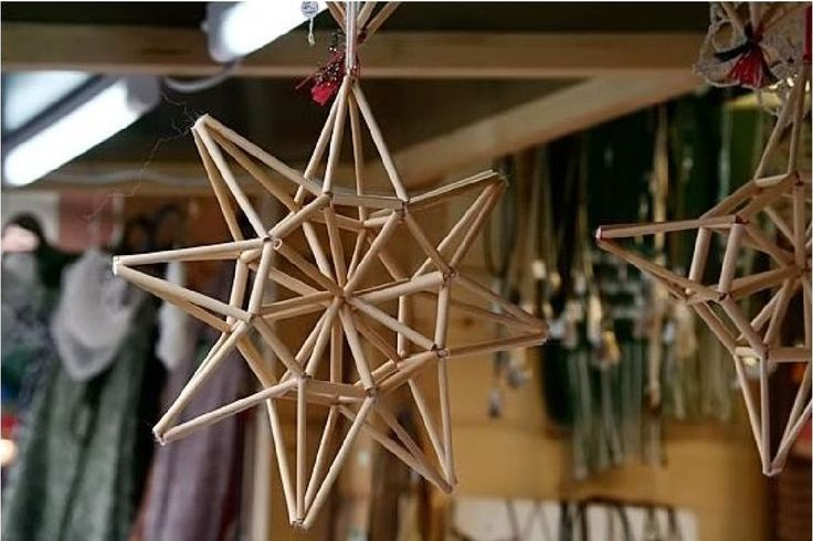 Latvian Christmas straw decorations - Zvaigzne (Star) #Baltic #handmade #Solstice