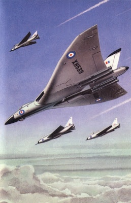 """Perhaps the best known set of British children's books were Ladybird Books, published by Wills and Hepburn Ltd, and they covered the Vulcan as well. In The Story Of Flight by Richard Bowood with illustrations by Robert Ayton, """"The Modern Fighting Plane"""" is depicted with a Vulcan being escorted by three English Electric Lightning interceptors, something that would not have happening in reality."""