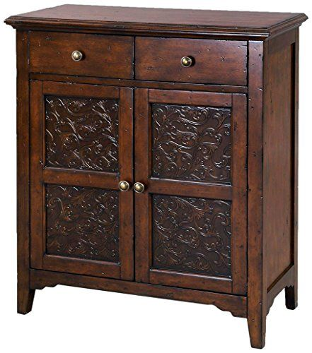 Hand Painted Distressed Faux Metal Front Brown Accent Chest   Overstock™  Shopping   Great Deals On Dressers