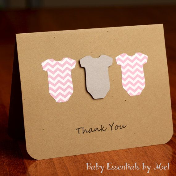 set of 6 thank you cards baby shower baby gifts chevron grey and pink grey and blue