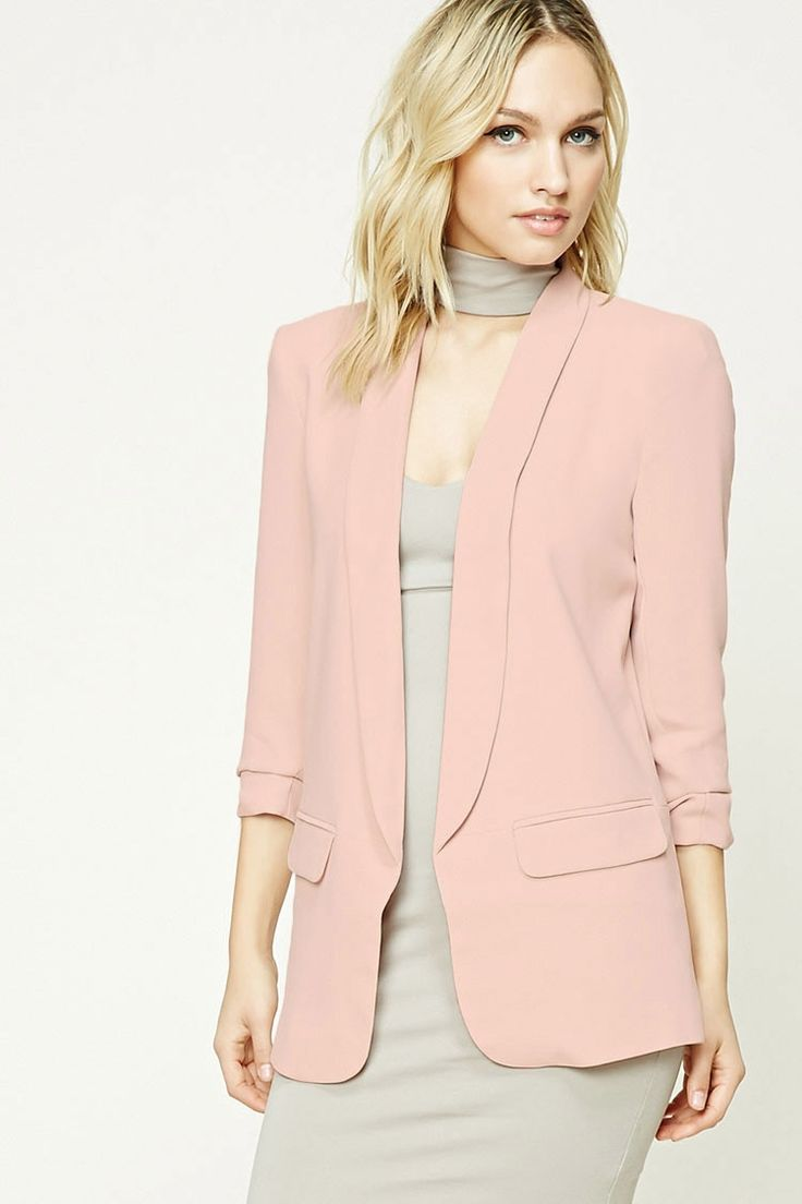 Forever 21 Contemporary - A textured woven blazer featuring a longline silhouette, padded shoulders, an open front, mock front flap pockets, and long ruched sleeves.