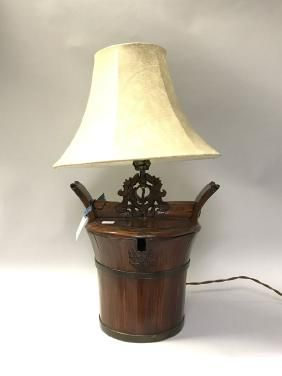 """Asian lamp made out of wood bucket, 13""""h bucket, 23""""h"""