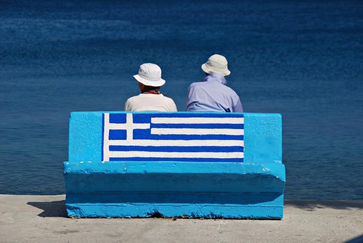 karpathos GREEK FLAG Waiting for the boat