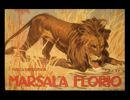 Florio Marsala - the drink of lions? BTW Marca Depositata is not the artist's name -- it's Italian for registered trademark