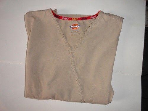 Dickies Womens Scrub Top Brown Short Sleeve Size Medium #Dickies