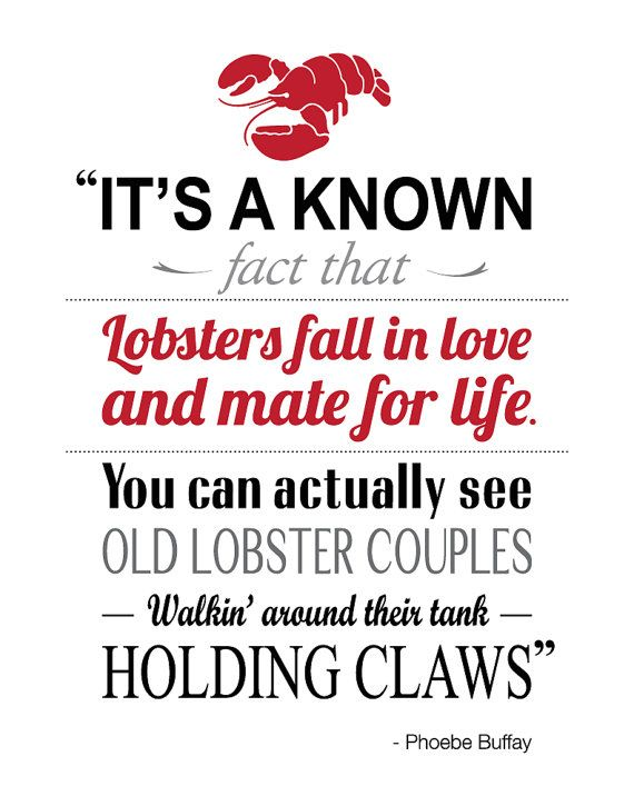 FRIENDS lobster quote.  My husband made this for me and I love it! Buy yours now. (Great valentines gift)