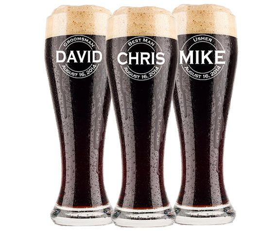 6 Groomsmen Pilsner Glass, Personalized Beer Glass, Beer Mug, Groomsman Gift, Gifts for Groomsmen Best Man Engraved Glasses, Groomsmen Gift, $11 Each