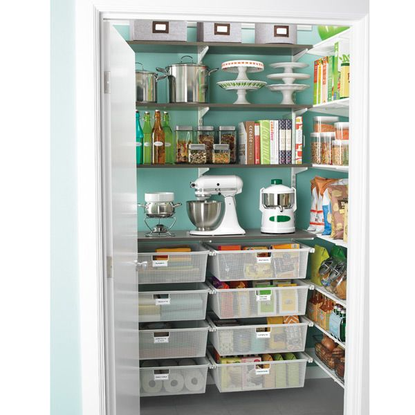 The Container Store =   Driftwood & White elfa Walk-In Pantry