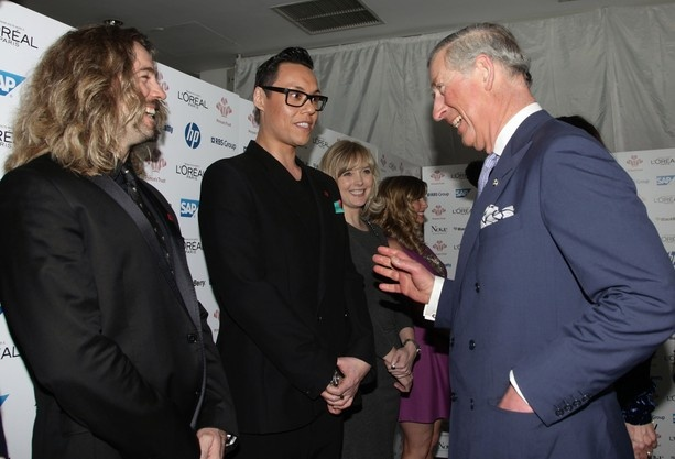 Prince Charles, Prince of Wales speaks with Justin Lee Collins (L) and Gok Wan (C) during The Prince's Trust and L'Oreal Paris Celebrate Success Awards at the Odeon Leicester Square on March 14, 2012 in London, England.