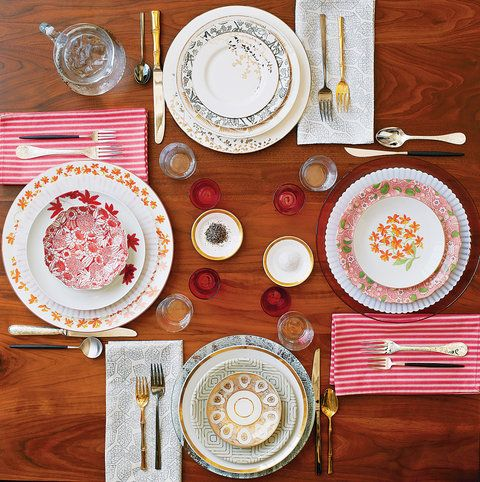 This is something I've wanted to do since I was quite young, gather disparate patterns and put them together to make each place setting unique yet coordinated.  This one from NYTimes magazine is all the impetus I need to create a new board for adding ideas as I come across them.