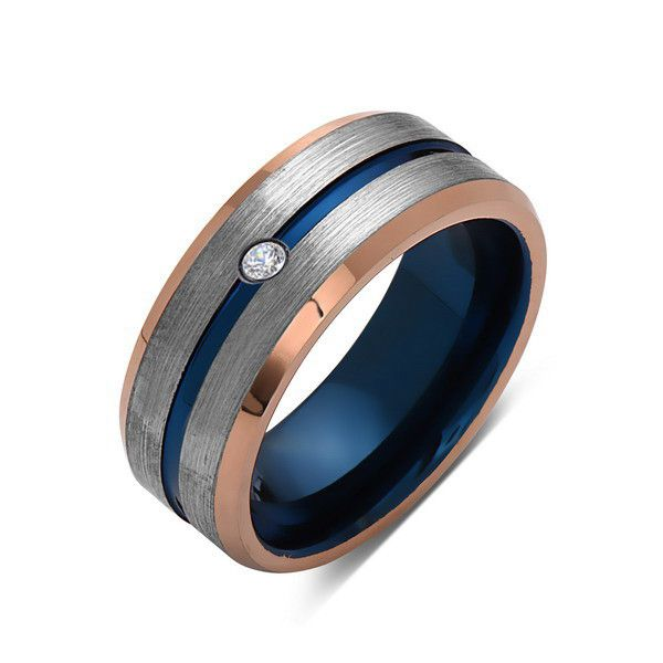 8mm,Diamond,Brushed Rose Gold,Gray and Blue,Tungsten Ring,Matching ,Mens Wedding Band,Blue Ring,Comfort Fit