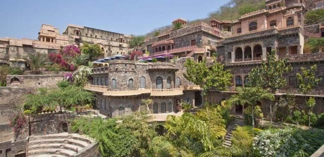 Neemrana Fort-Palace, a heritage hotel established in a 15th century fort, overlooking the city of Jaipur, India