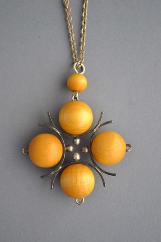 Vintage Aarikka Finland Midcentury Modernist Wood Bead Ball Necklace   eBay
