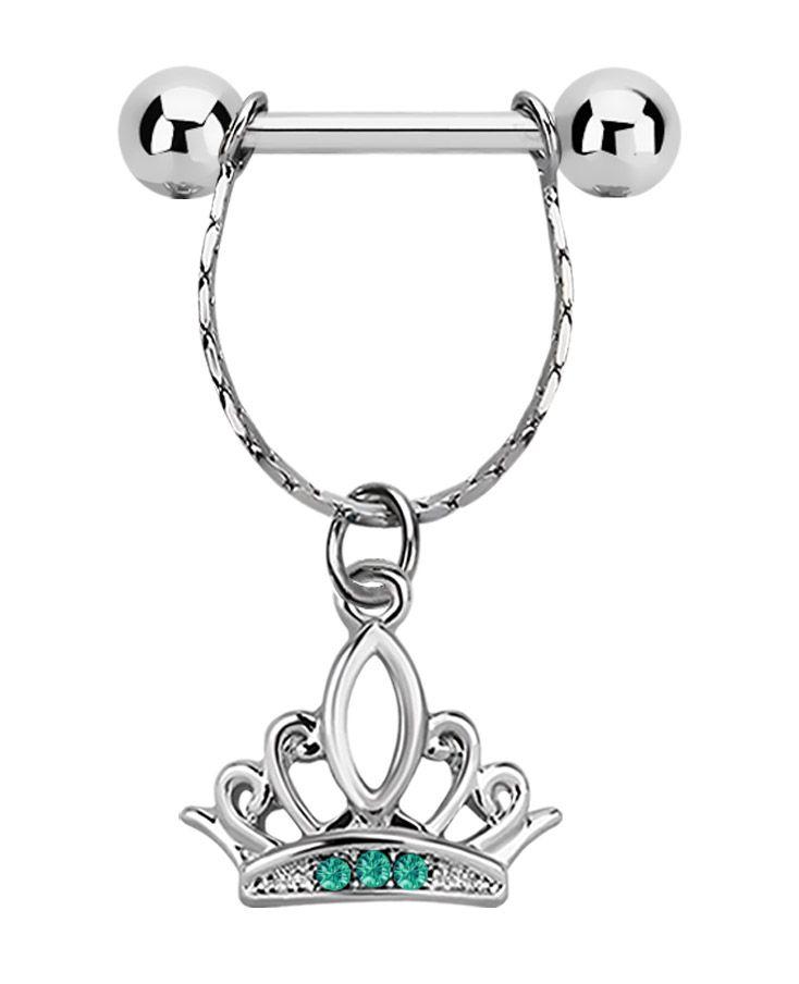 Bild von Brustpiercing Stahl Stab mit Gliederkette und Anhänger mit Krone, #nippelpiercing #krone