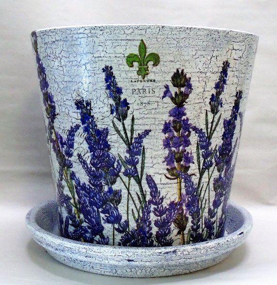 Made To Order Handmade Decoupage Terra Cotta Indoor Flower Pot Lavender Paris Crackle Look Garden Decor 7 5 With Images Flower Pot Crafts Decoupage Glass Painted Terra Cotta Pots