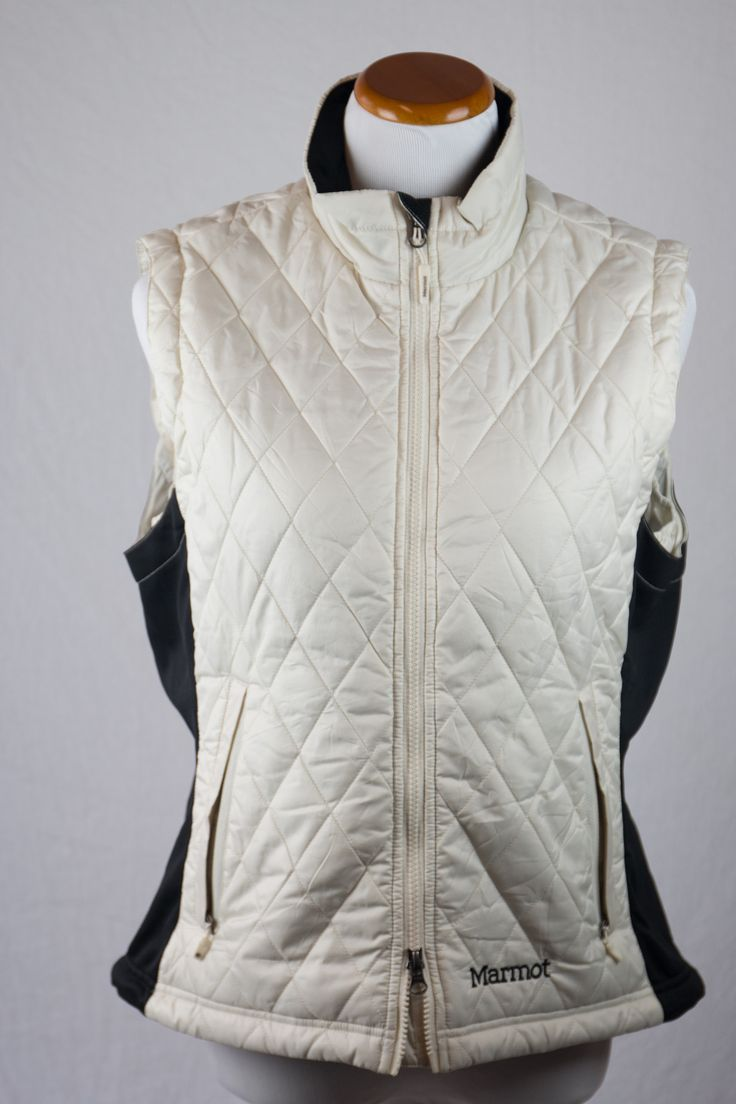 Cream Puffy Zip Up Vest Female Large