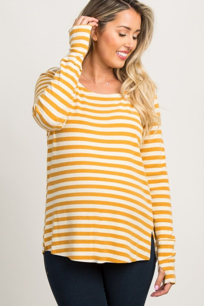 303cb2427713d Yellow Striped Long Sleeve Maternity Top in 2019 | Maternity 2020 | Maternity  tops, Pink blush maternity, Yellow stripes