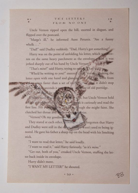 Harry Potter Book Lengths Pages ~ Original watercolor harry potter book page hedwig art