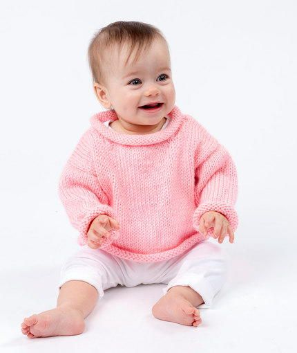 The Pretty in Pink Baby Pullover features rolled edges and simple stockinette stitch pieces. This adorable baby sweater is easy to knit and easy to pull over baby's head. Your little one will stay fashionably warm with this cute top.