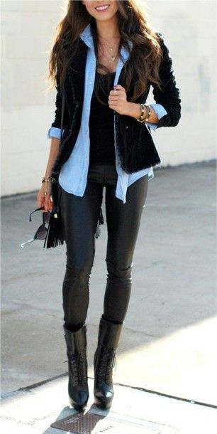 Denim shirt under black blazer and black skinnies/leather leggings - perfect street chic style!