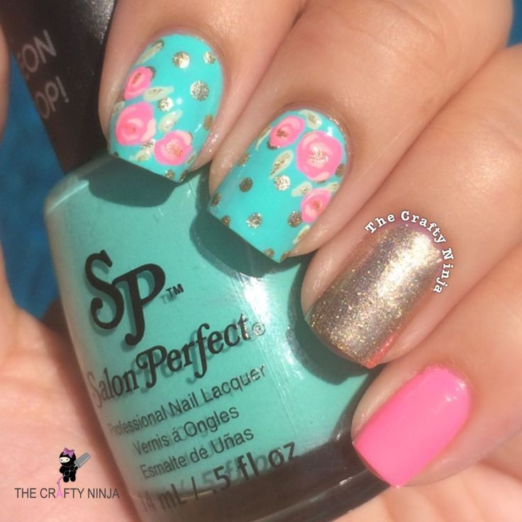 teal nails with roses