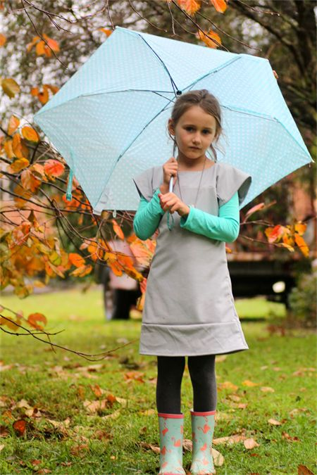 Girls Grey Dolman Dress - Sizes 2-8