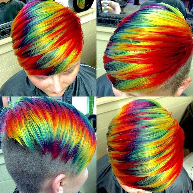 Neon hair an clipper cut by Ursula Goff. Rainbow Mermaid Unicorn hair #hotonbeauty facebook.com/hotbeautymagazine