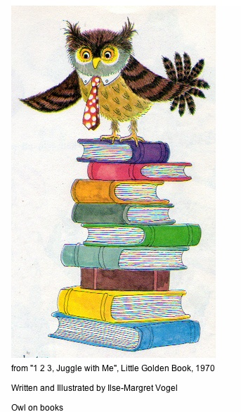 'Owl on Books' from '1 2 3 Juggle with Me' written and illustrated by Ilse-Margret Vogel