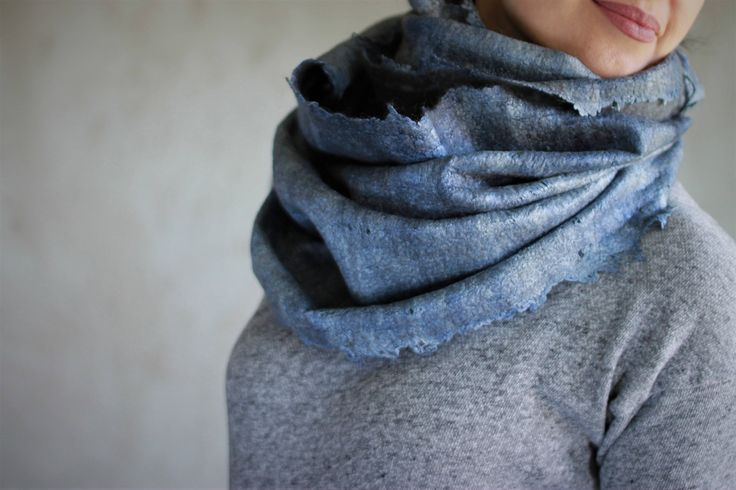 Blue chunky scarf grey merino wool infinity cowl felted scarf wool hood cirkle scarf hooded scarf winter scarf unisex hood silk scarf by AureliaFeltStudio on Etsy