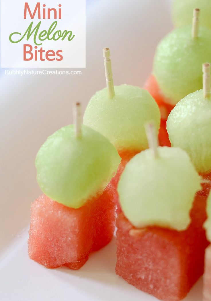 Mini Melon Bites... for baby shower reveal coral/watermellon for girl mint/honeydew for boy