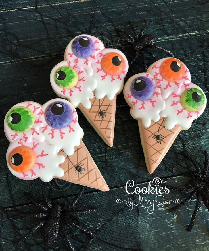 Ewwy gooey eye ball ice cream cone Sugar Cookies!-Decorated Halloween Cookies