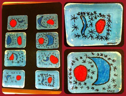 Quadre pintat a l'aula a l'estil de Joan Miró.