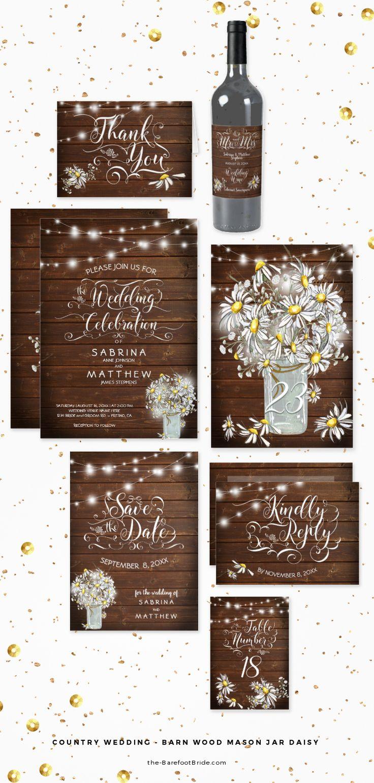 Country Wedding - Barn Wood Mason Jar Daisy  #weddingInvitation #wedding #bride #woodsyWedding #RusticWedding