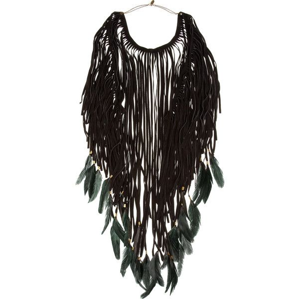 Isabel Marant Dakota feather-embellished suede necklace (107.645 HUF) ❤ liked on Polyvore featuring jewelry, necklaces, accessories, isabel marant, women, suede fringe necklace, fringe jewelry, fringe necklaces, iridescent necklace and isabel marant jewelry