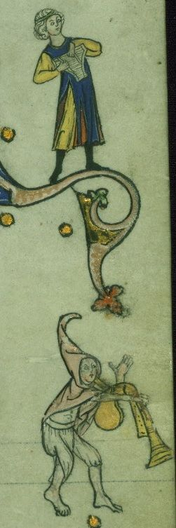 Hodinky Walters Ms. W.90; SV Francie 1300-1325; f. 151r  Looks like he's holding up a pair of underwear!