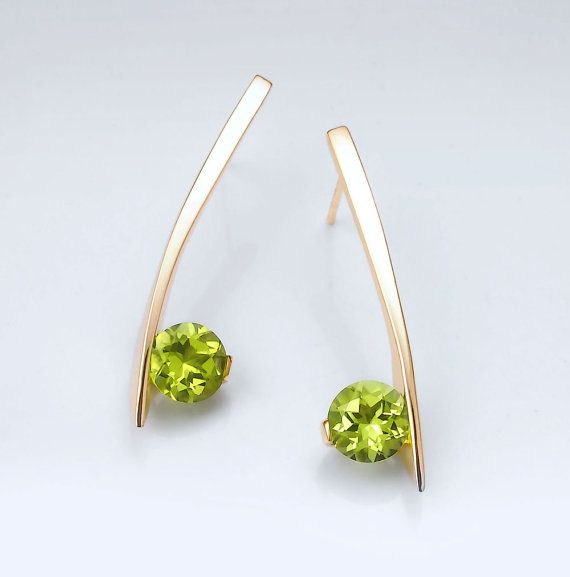 14k yellow gold earrings - peridot earrings - dangle - August birthstone - gemstone jewelry - contemporary earrings - posts - 2458