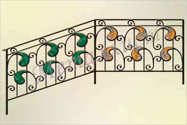 Перила кованые с витражом или цветным стеклом. Витраж в стиле тиффани / цветное стекло.  Индивидуальная проработка рисунка и цветового решения. цена: от 15870 руб.<sup>*</sup>