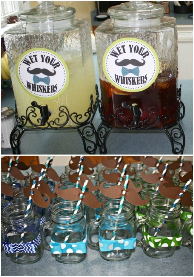 Little Man Baby Shower - Check out the little bow ties on the mason jars. So sweet! #LittleMan #BabyShower