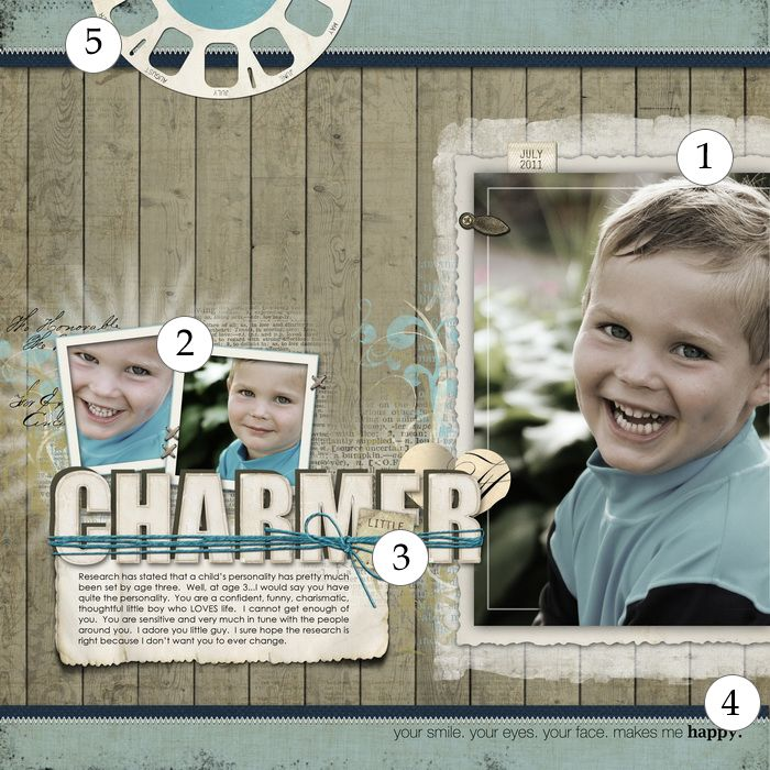 """Scrapbook Page by Jana Morton - 5 """"liftable"""" touches"""