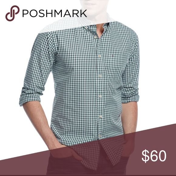 NWT gingham button up FLASH SALE NWT. Casual fit green and white button down shirt from Tommy Hilfiger. Would be a great Christmas gift for your boyfriend! Tommy Hilfiger Shirts Casual Button Down Shirts