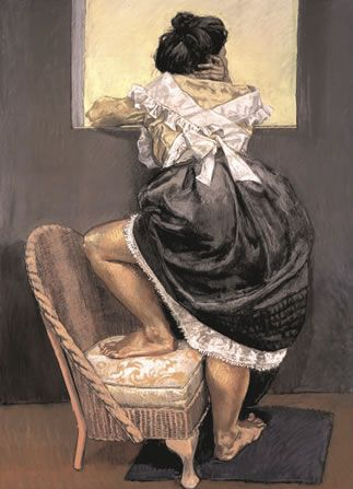 Paula Rego - Looking Out 1997, Pastel on papper on aluminium, 71x51 in